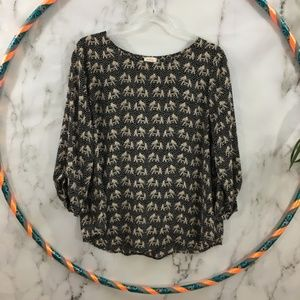 Pixley Black Elephant Print 3/4 Sleeves Top BS11